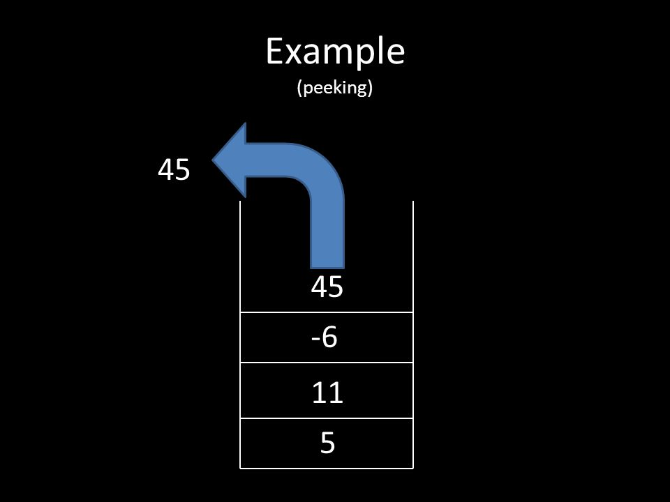 Example (popping) 5 11 -6 45
