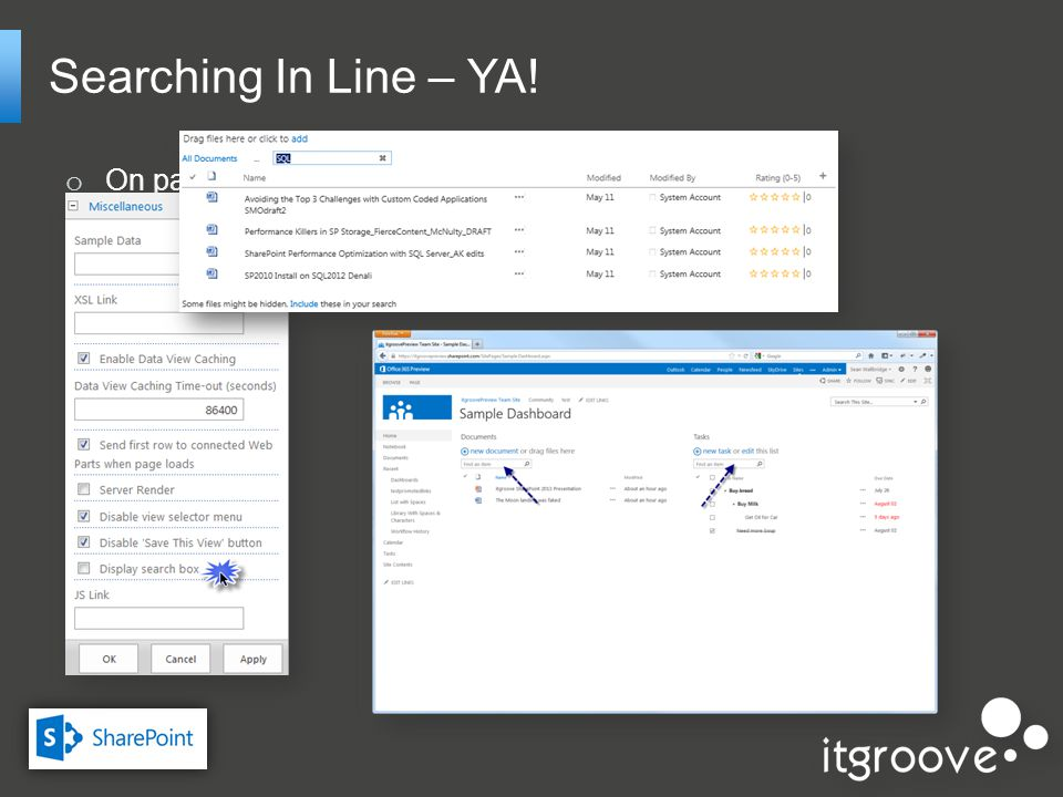 Searching In Line – YA! o On page, in line search