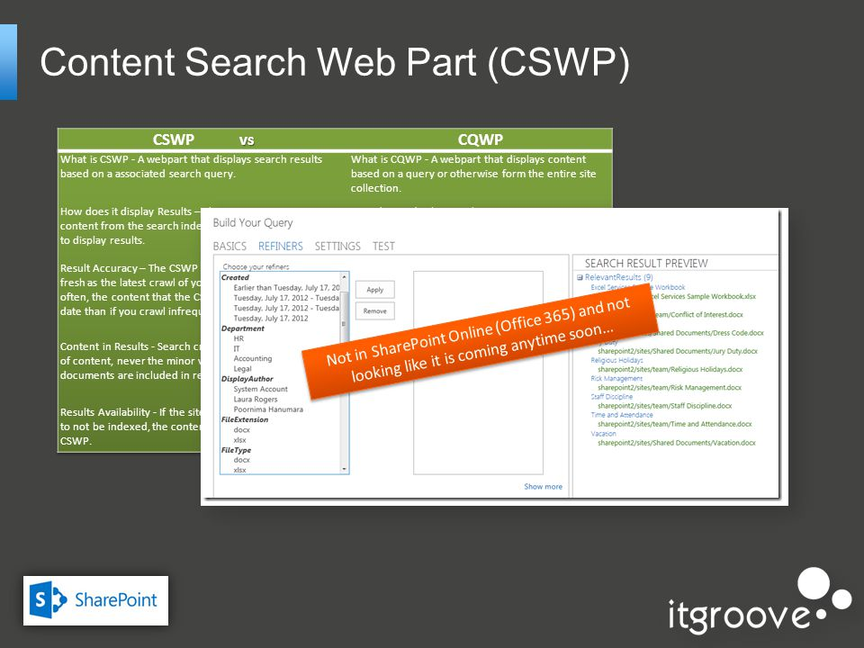 Content Search Web Part (CSWP) Not in SharePoint Online (Office 365) and not looking like it is coming anytime soon…