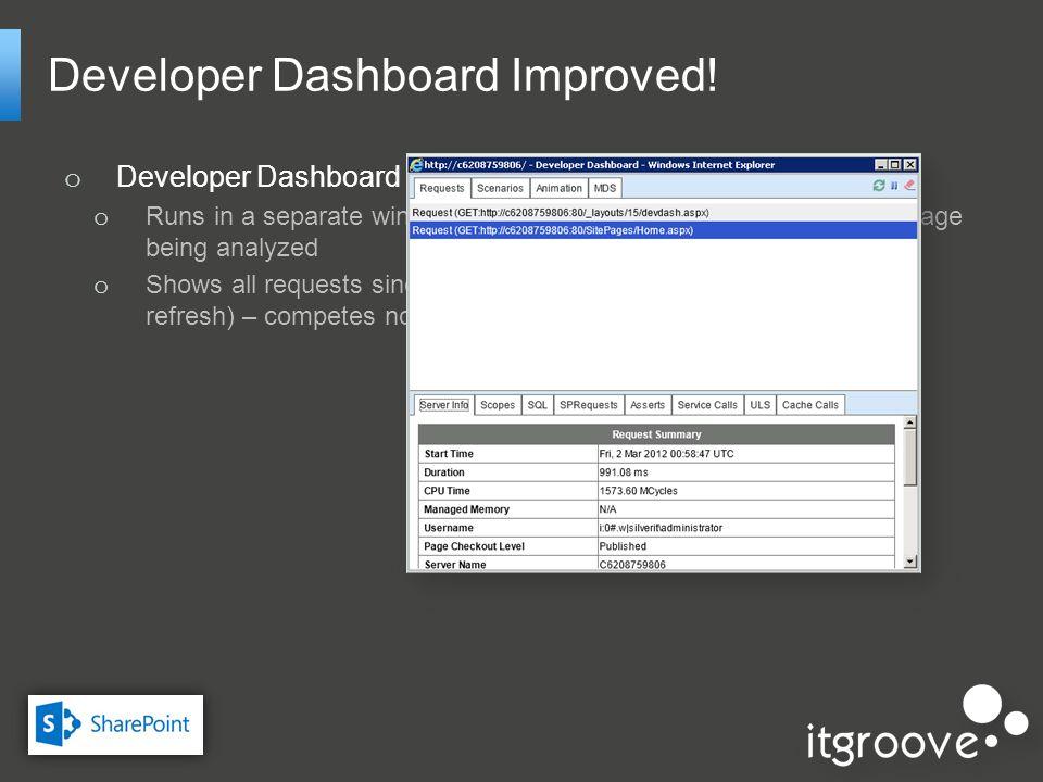Developer Dashboard Improved.