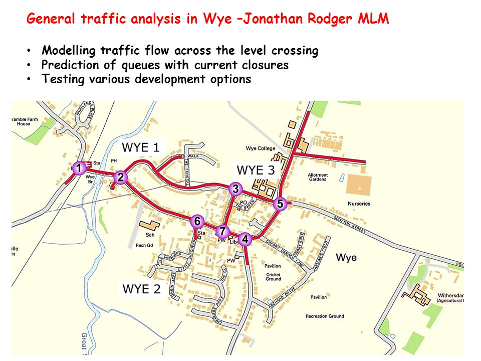 General traffic analysis in Wye –Jonathan Rodger MLM Modelling traffic flow across the level crossing Prediction of queues with current closures Testing various development options Map of streets with key junctions and development sites marked