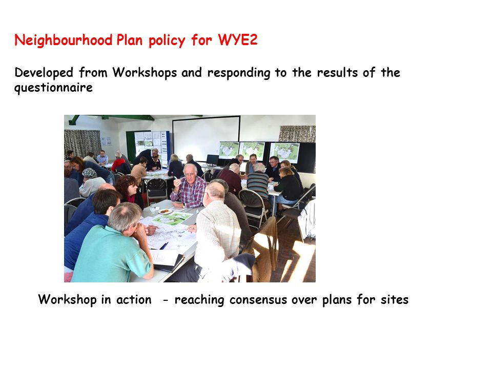 Neighbourhood Plan policy for WYE2 Developed from Workshops and responding to the results of the questionnaire Workshop in action - reaching consensus over plans for sites