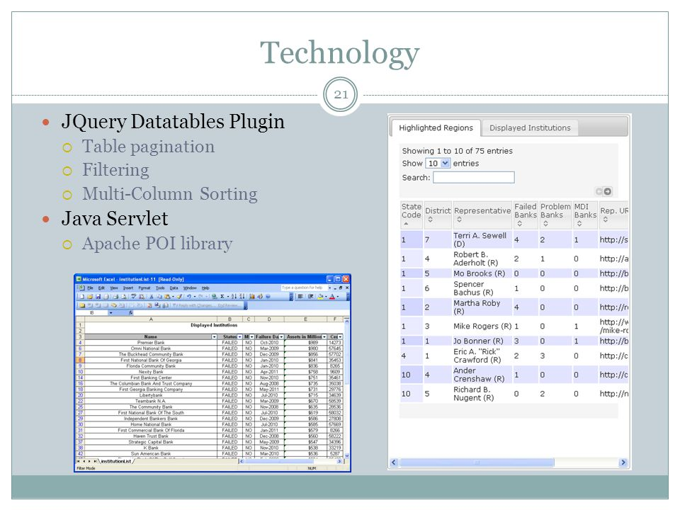Technology JQuery Datatables Plugin Table pagination Filtering Multi-Column Sorting Java Servlet Apache POI library 21