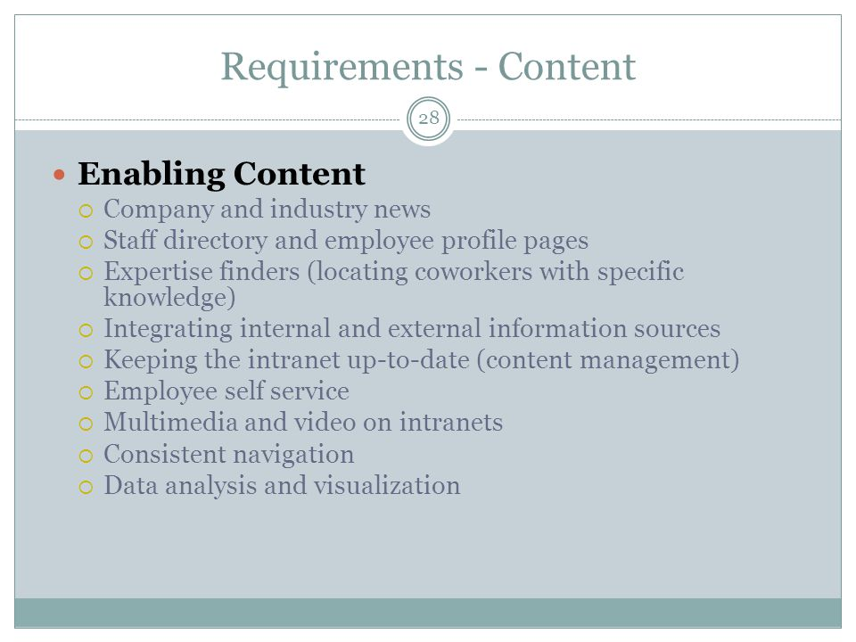 28 Requirements - Content Enabling Content Company and industry news Staff directory and employee profile pages Expertise finders (locating coworkers