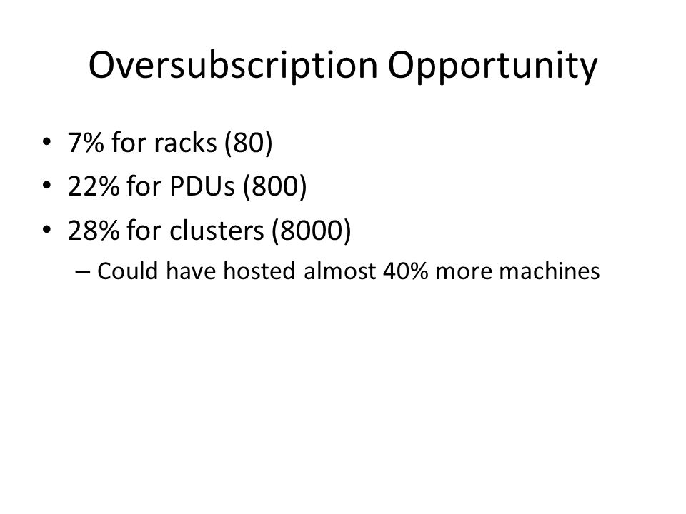 Oversubscription Opportunity 7% for racks (80) 22% for PDUs (800) 28% for clusters (8000) – Could have hosted almost 40% more machines