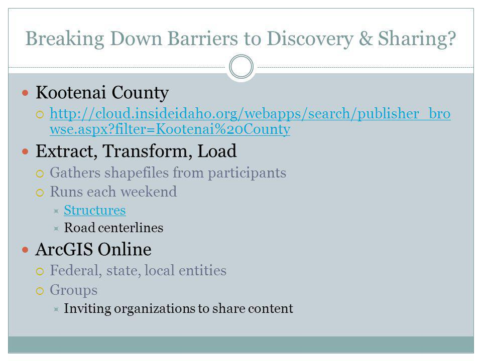 Breaking Down Barriers to Discovery & Sharing? Kootenai County http://cloud.insideidaho.org/webapps/search/publisher_bro wse.aspx?filter=Kootenai%20Co