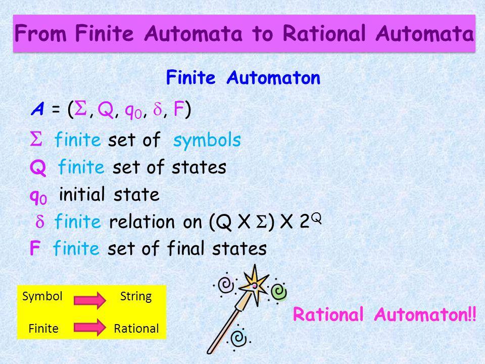 From Finite Automata to Rational Automata Finite Automaton A = (, Q, q 0,, F) finite set of symbols Q finite set of states q 0 initial state finite relation on (Q X ) X 2 Q F finite set of final states Rational Automaton!.