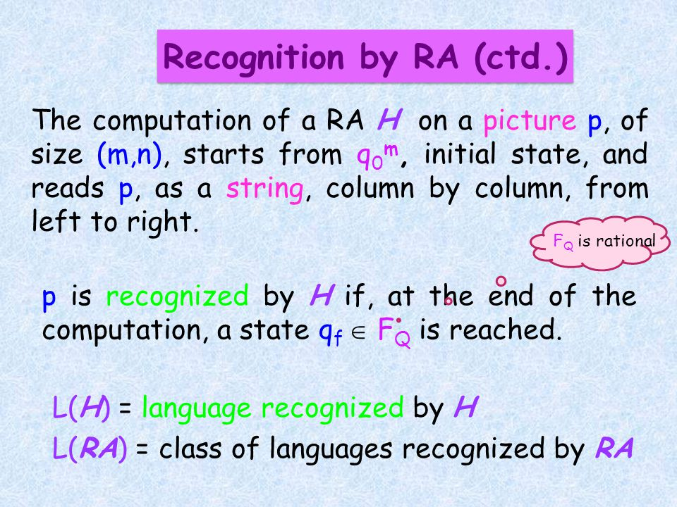 The computation of a RA H on a picture p, of size (m,n), starts from q 0 m, initial state, and reads p, as a string, column by column, from left to right.