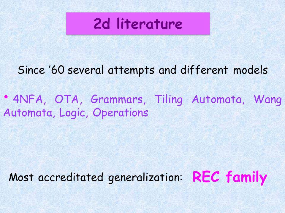 2d literature Since 60 several attempts and different models 4NFA, OTA, Grammars, Tiling Automata, Wang Automata, Logic, Operations REC family Most ac