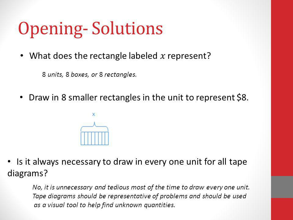 Opening- Solutions What does the rectangle labeled represent? 8 units, 8 boxes, or 8 rectangles. Draw in 8 smaller rectangles in the unit to represent
