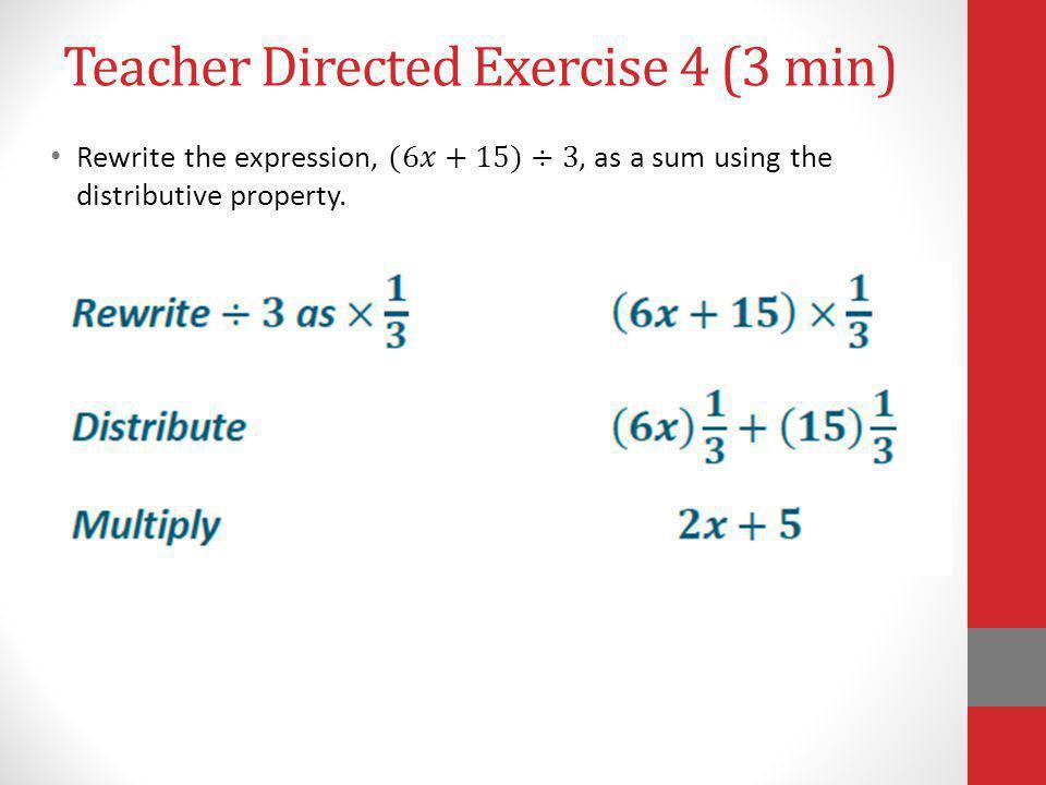 Teacher Directed Exercise 4 (3 min)