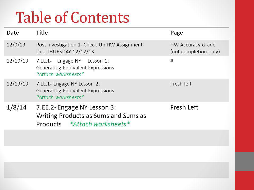 Table of Contents DateTitlePage 12/9/13Post Investigation 1- Check Up HW Assignment Due THURSDAY 12/12/13 HW Accuracy Grade (not completion only) 12/1