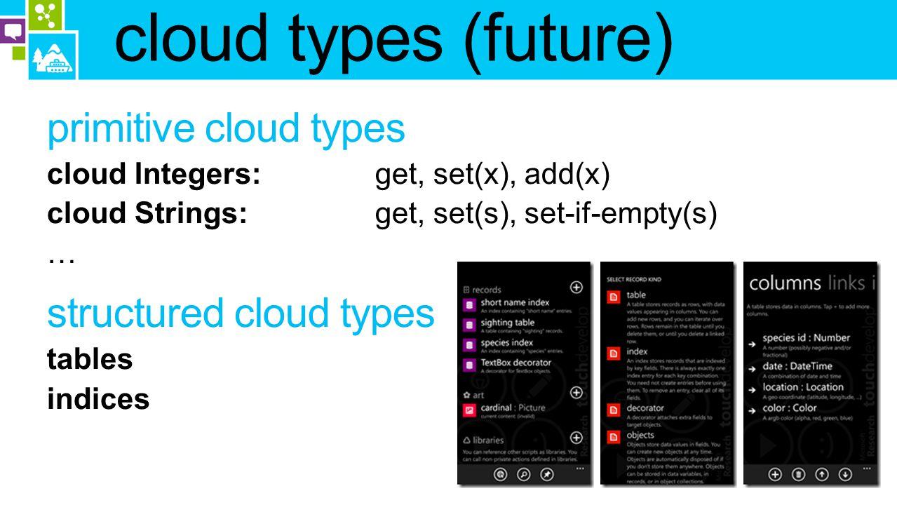 cloud types (future)