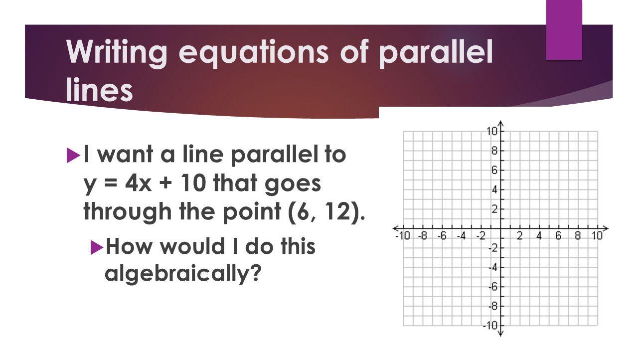 Writing equations of parallel lines I want a line parallel to y = 4x + 10 that goes through the point (6, 12). How would I do this algebraically?