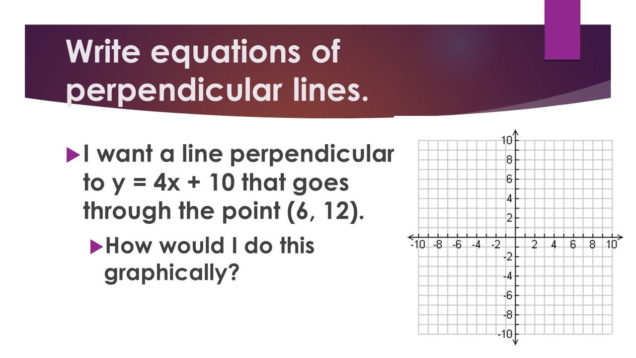 Write equations of perpendicular lines. I want a line perpendicular to y = 4x + 10 that goes through the point (6, 12). How would I do this graphicall