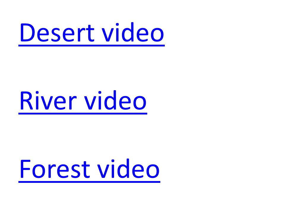 Desert video River video Forest video