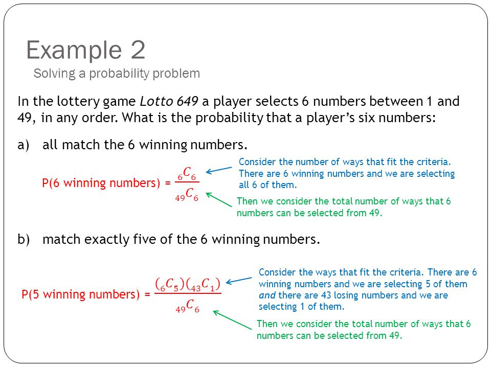 Example 2 In the lottery game Lotto 649 a player selects 6 numbers between 1 and 49, in any order. What is the probability that a players six numbers: