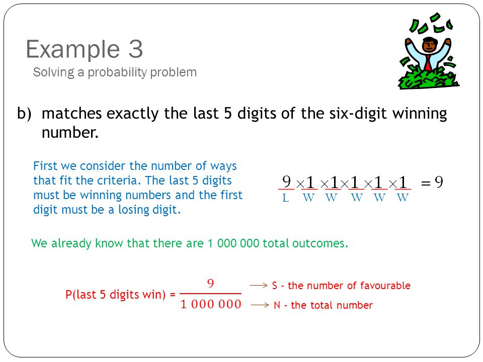 Example 3 b) matches exactly the last 5 digits of the six-digit winning number.