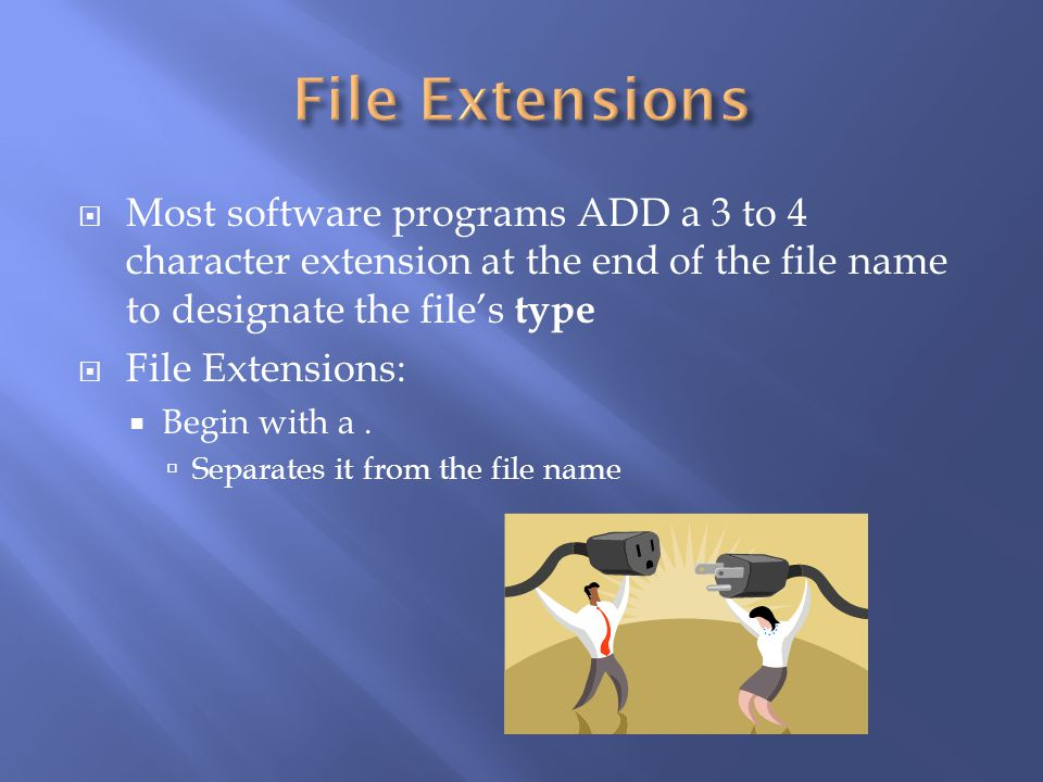 .docx or.docMS Word files.xlsx or.xlsMS Excel files.accdb or.mdbMS Access database files.pptx or.pptMS PowerPoint files.gif or.jpg or.jpegInternet Graphics files.bmpPaint Graphics files.html or.htmWeb Pages.pdfPortable Document Format.txtPlain text file.exeProgram file.rtfRich Text Format