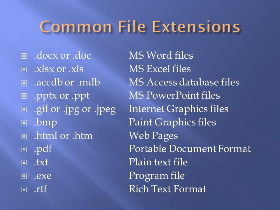 .docx or.docMS Word files.xlsx or.xlsMS Excel files.accdb or.mdbMS Access database files.pptx or.pptMS PowerPoint files.gif or.jpg or.jpegInternet Gra