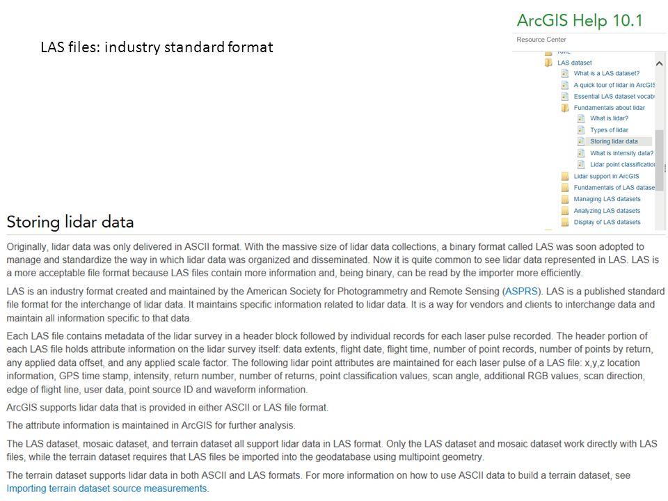 LAS files: industry standard format