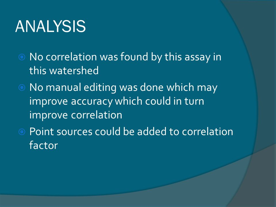 ANALYSIS No correlation was found by this assay in this watershed No manual editing was done which may improve accuracy which could in turn improve correlation Point sources could be added to correlation factor