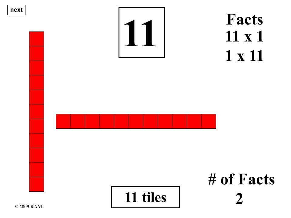 11 tiles 11 1 x 11 # of Facts 2 11 x 1 Facts next © 2009 RAM