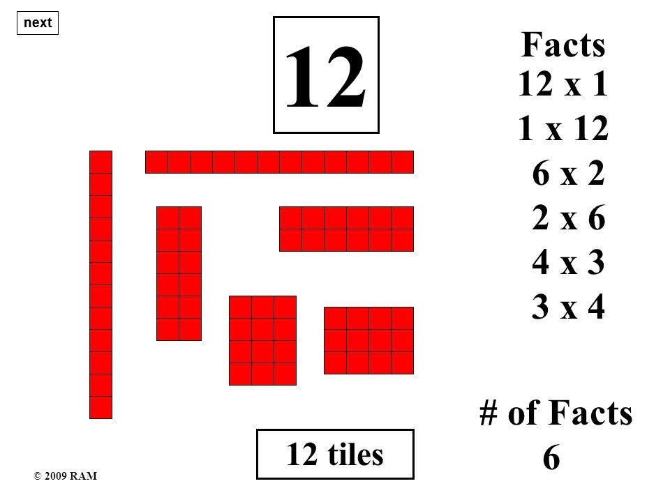12 tiles 12 1 x 12 # of Facts 6 12 x 1 Facts 6 x 2 2 x 6 4 x 3 3 x 4 next © 2009 RAM