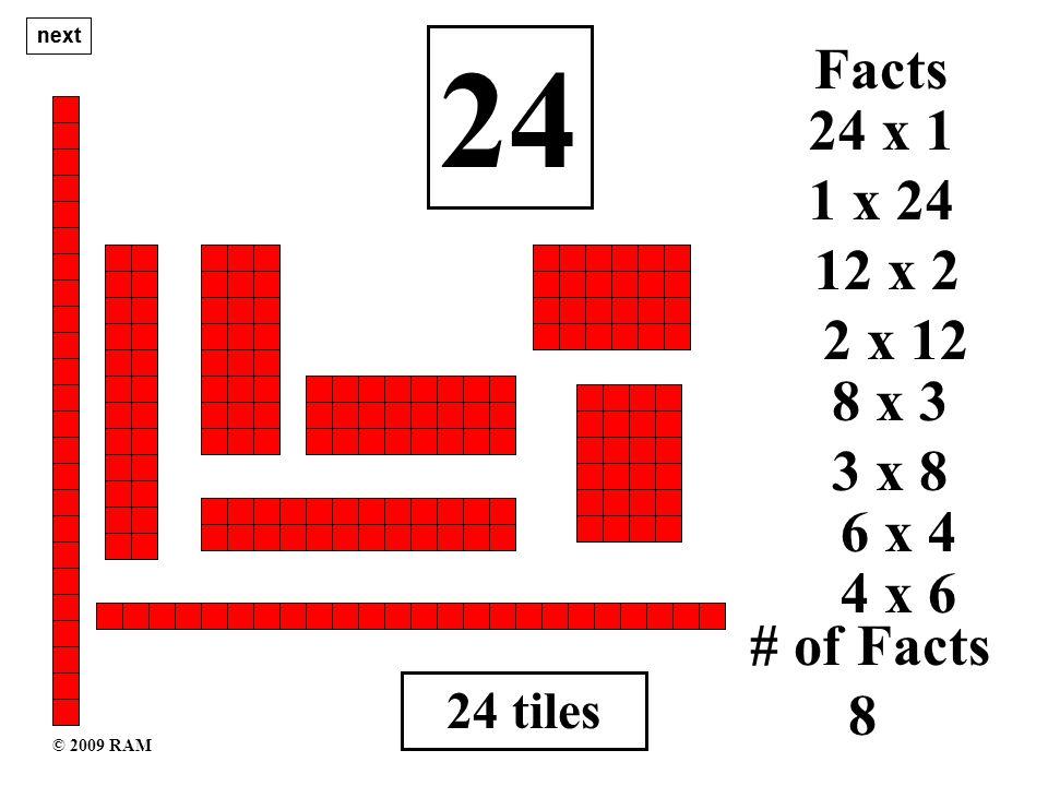 24 tiles 24 1 x 24 # of Facts 8 24 x 1 Facts 12 x 2 2 x 12 8 x 3 3 x 8 6 x 4 4 x 6 next © 2009 RAM