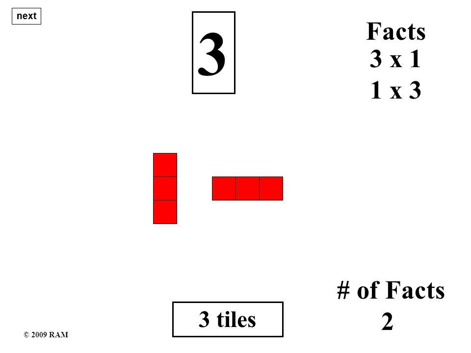 14 tiles 14 1 x 14 # of Facts 4 14 x 1 Facts 7 x 2 2 x 7 next © 2009 RAM