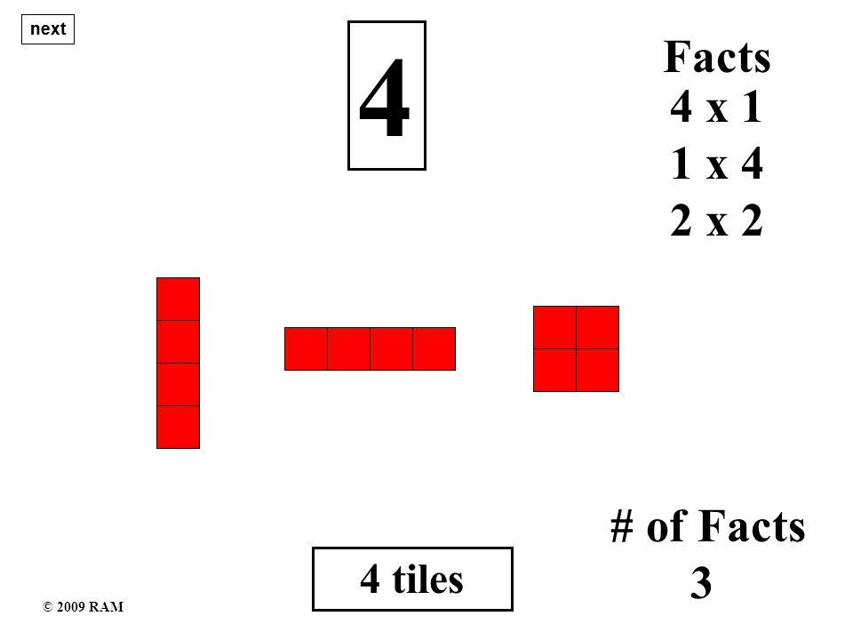 15 tiles 15 1 x 15 # of Facts 4 15 x 1 Facts 5 x 3 3 x 5 next © 2009 RAM