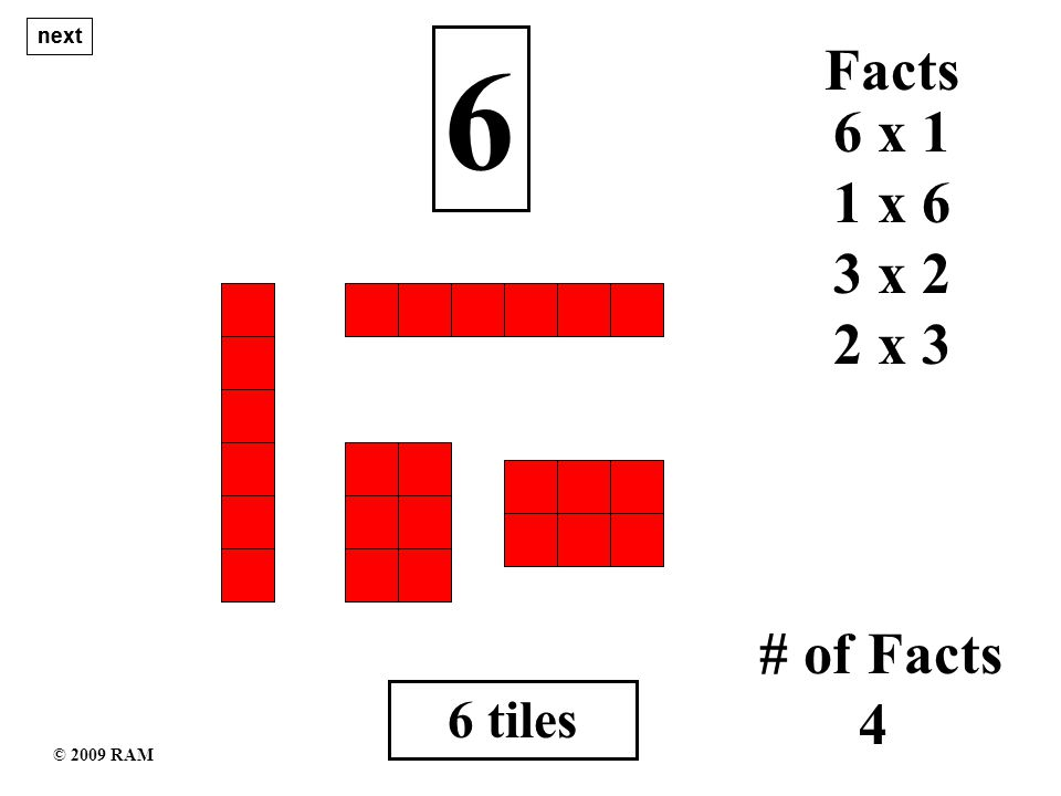 7 tiles 7 1 x 7 # of Facts 2 7 x 1 Facts next © 2009 RAM