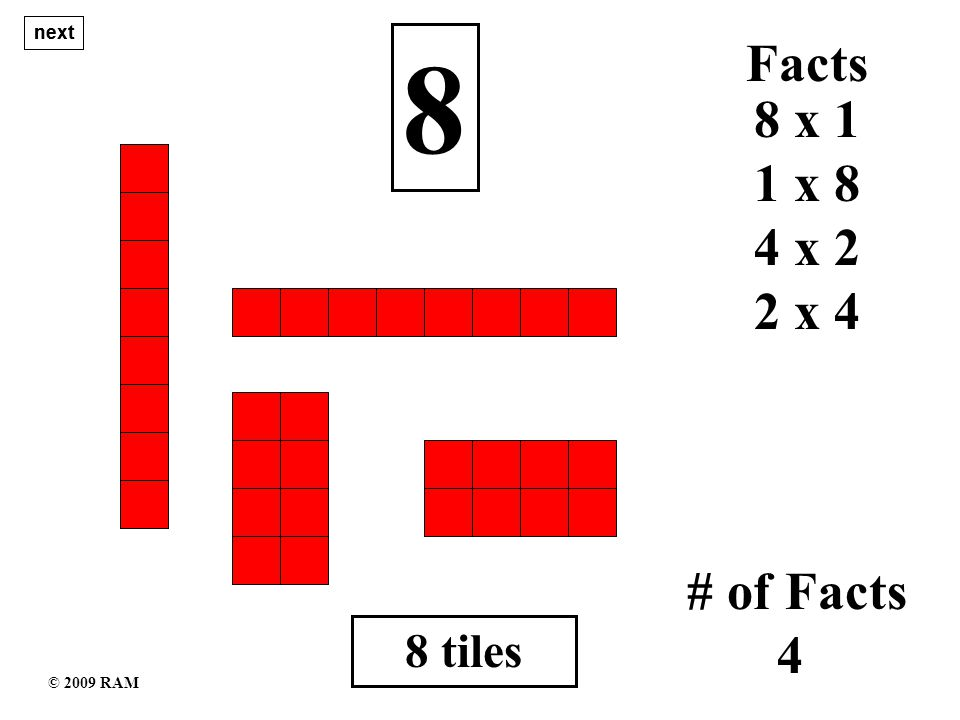 9 tiles 9 1 x 9 # of Facts 3 9 x 1 Facts 3 x 3 next © 2009 RAM