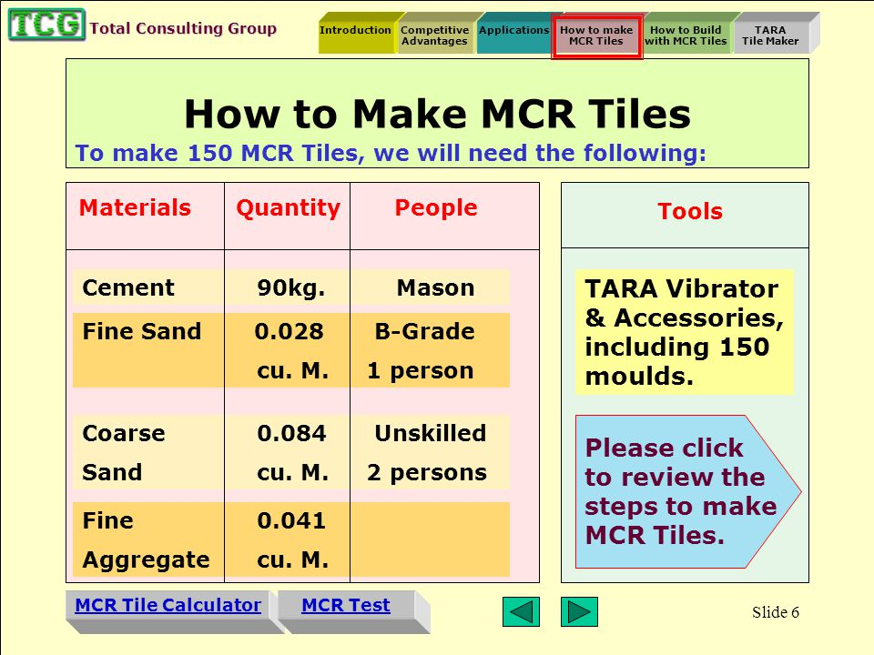 Introduction MCR Tile Calculator Competitive Advantages ApplicationsHow to make MCR Tiles How to Build with MCR Tiles TARA Tile Maker MCR Test Total Consulting Group Slide 5 Applications A variety of roof designs for farm and country houses, bungalows, verandahs and pavilions are possible with MCR tiles.