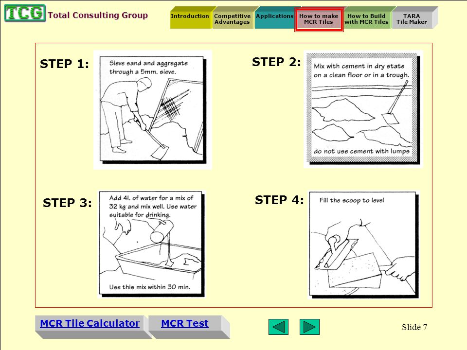 Introduction MCR Tile Calculator Competitive Advantages ApplicationsHow to make MCR Tiles How to Build with MCR Tiles TARA Tile Maker MCR Test Total Consulting Group Slide 6 How to Make MCR Tiles Materials Quantity People Cement90kg.