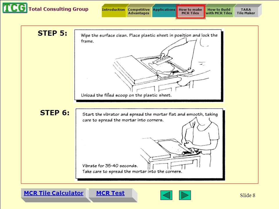 Introduction MCR Tile Calculator Competitive Advantages ApplicationsHow to make MCR Tiles How to Build with MCR Tiles TARA Tile Maker MCR Test Total Consulting Group Slide 7 STEP 1: STEP 2: STEP 3: STEP 4: