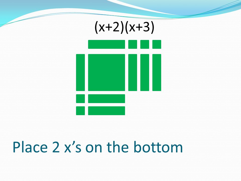 Place 2 xs on the bottom (x+2)(x+3)