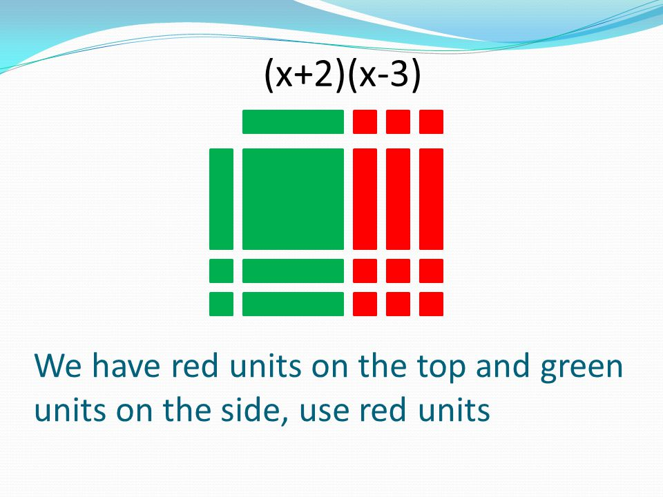 We have red units on the top and green units on the side, use red units (x+2)(x-3)