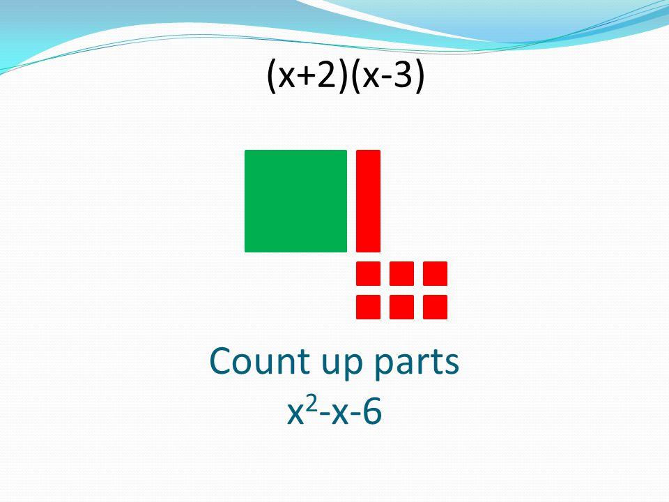 Count up parts x 2 -x-6 (x+2)(x-3)
