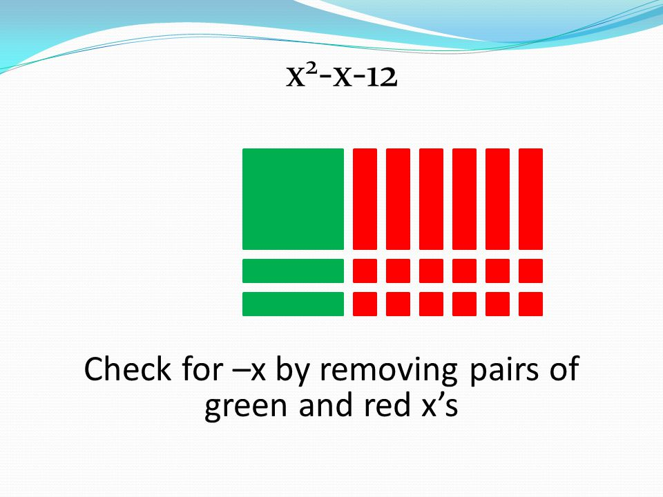 Check for –x by removing pairs of green and red xs