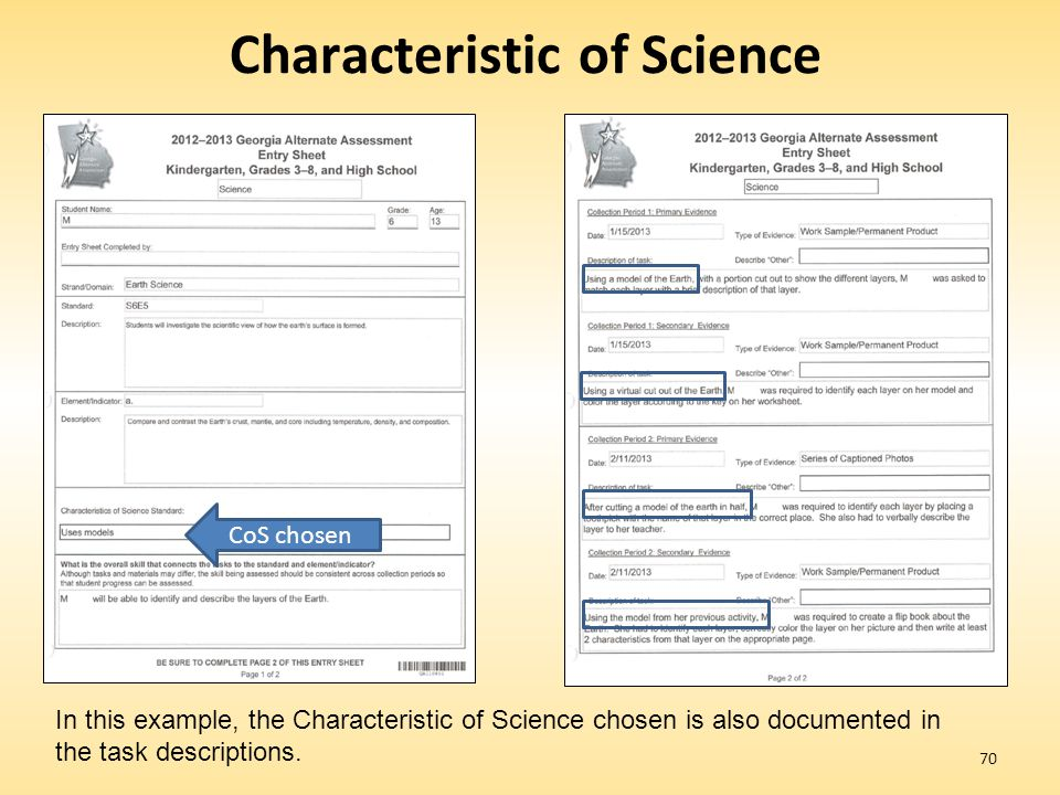 70 Characteristic of Science CoS chosen In this example, the Characteristic of Science chosen is also documented in the task descriptions.