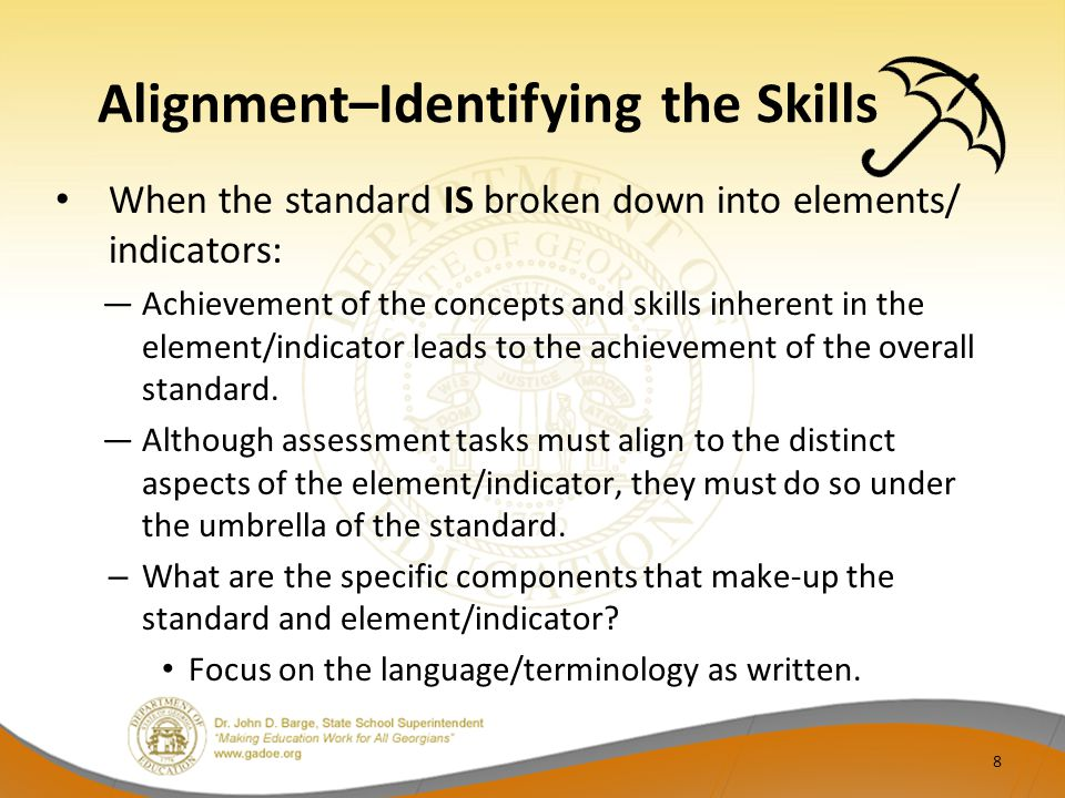 Alignment–Identifying the Skills When the standard IS broken down into elements/ indicators: Achievement of the concepts and skills inherent in the el