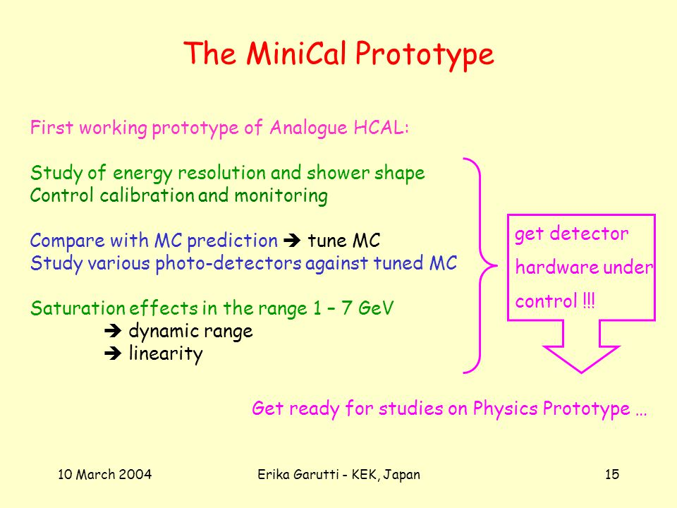 10 March 2004Erika Garutti - KEK, Japan15 The MiniCal Prototype First working prototype of Analogue HCAL: Study of energy resolution and shower shape Control calibration and monitoring Compare with MC prediction tune MC Study various photo-detectors against tuned MC Saturation effects in the range 1 – 7 GeV dynamic range linearity get detector hardware under control !!.