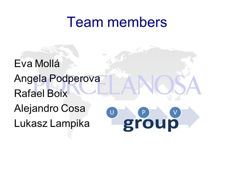 Team members Eva Mollá Angela Podperova Rafael Boix Alejandro Cosa Lukasz Lampika