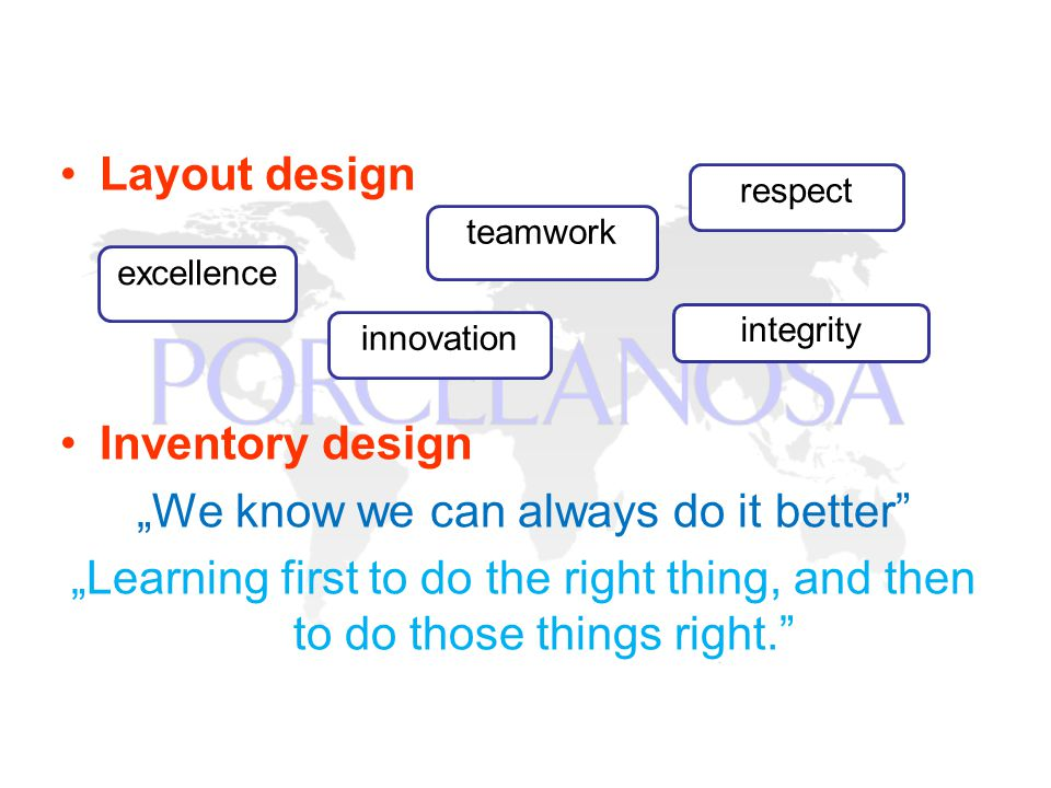 Layout design Inventory design We know we can always do it better Learning first to do the right thing, and then to do those things right.