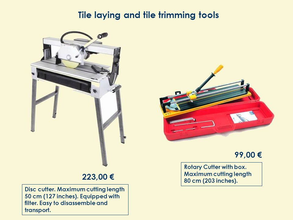 Disc cutter. Maximum cutting length 50 cm (127 inches).