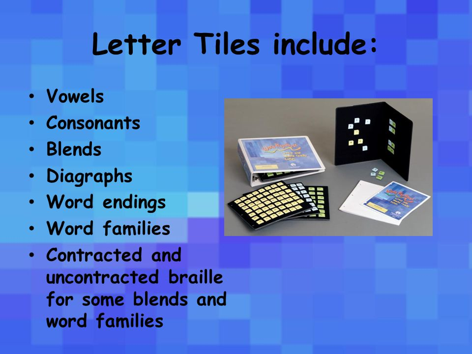 Vowels, vowel digraphs, and vowel diphthongs are printed on yellow tiles in black print and braille, and have a small open circle point symbol in upper left corner.