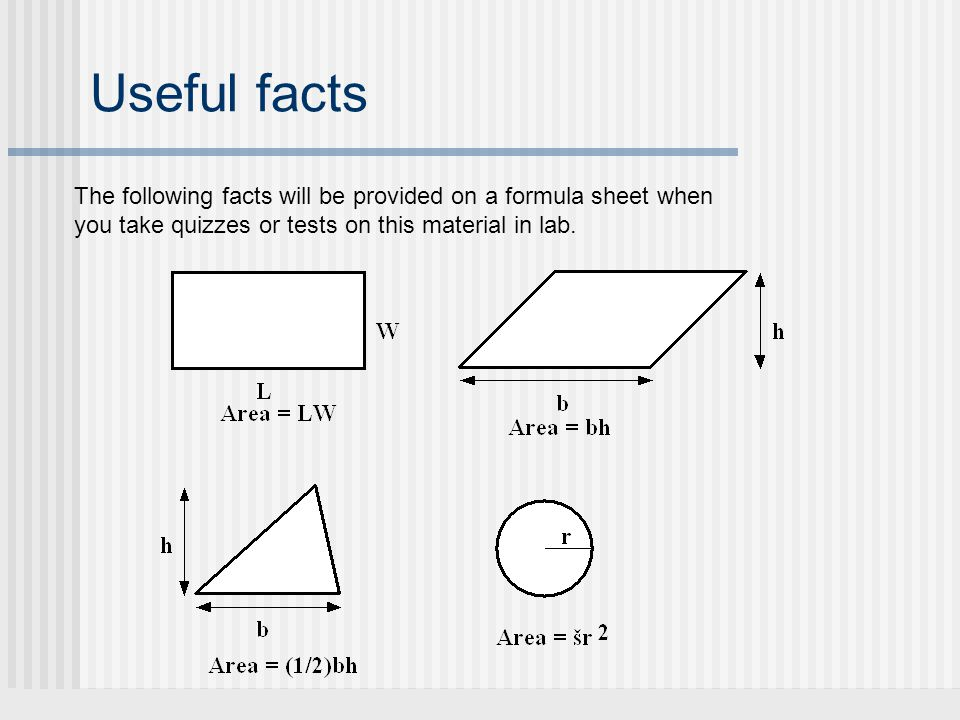 Useful facts The following facts will be provided on a formula sheet when you take quizzes or tests on this material in lab.