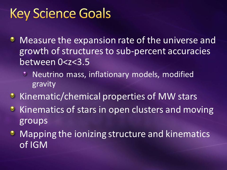 Measure the expansion rate of the universe and growth of structures to sub-percent accuracies between 0<z<3.5 Neutrino mass, inflationary models, modified gravity Kinematic/chemical properties of MW stars Kinematics of stars in open clusters and moving groups Mapping the ionizing structure and kinematics of IGM