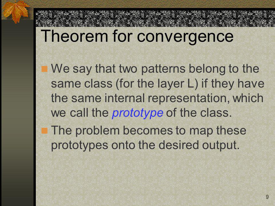 10 Theorem for convergence master unit the first unit in each layer ancillary unit all the other units in each layer, use to fulfil the faithfulness condition.